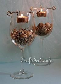 Maritime and seashell decorating idea i wouldn 39 t use a for Beach wine glass candle holders
