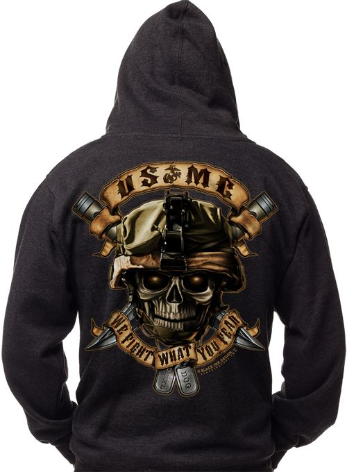 Men's Marines Hoodie - USMC - We Fight What You Fear United States Marine Corps - Semper Fi