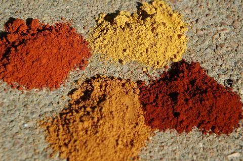 Natural ocher pigments for no-VOC natural paint