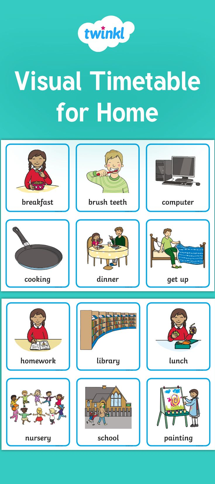 Free Visual Timetable For Home Visual Timetable Visual Schedule Autism Visual Social Stories