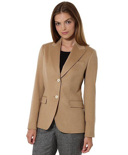 Petite Camel Hair Two-Button Jacket - Brooks Brothers