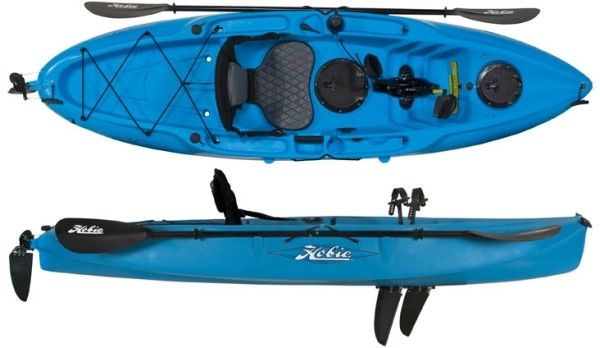 """One of the lightestMirageDrive® kayaks the Hobie """"Mirage Sport"""" fishing kayak was designed for a wide range of kayak anglers. With enough cockpit space for 6ft kayak fishermen the seat easily moves forward to accommodate youth paddlers as small as 4ft. The Mirage Sport comes standard with a seat, paddle, rod holders and MirageDrive®. The perfect all inclusive youth peddle fishing kayak."""