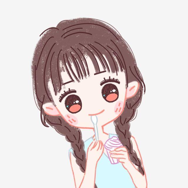 Hand Drawn Cartoon Pure Girl Crayon Villain Meng Little Girl
