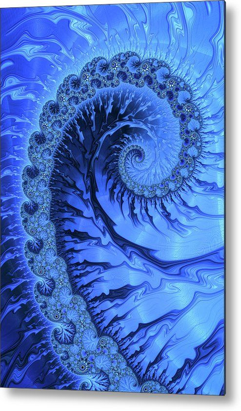 Blue fractal spiral metal print for sale, cool and powerful math art. The image gets printed directly onto a sheet of aluminum. Metal prints are extremely durable and lightweight. The high gloss of the aluminum complements the rich colors of the image. Matthias Hauser - Art for your Home Decor and Interior Design.