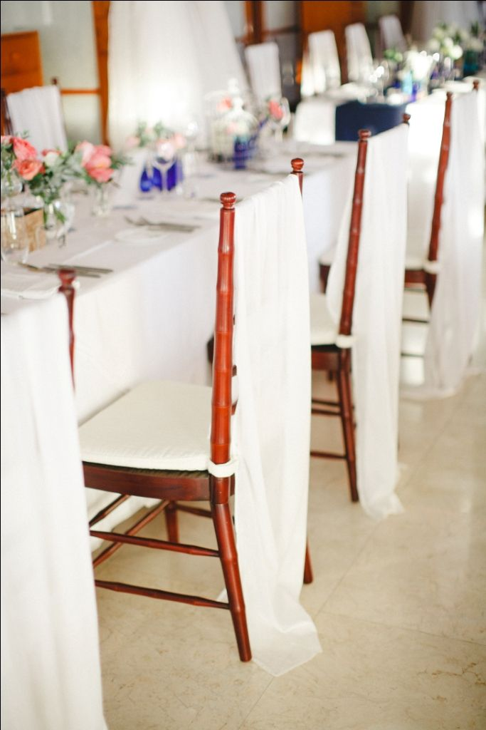 Brown Tiffany Chair covered with white sash