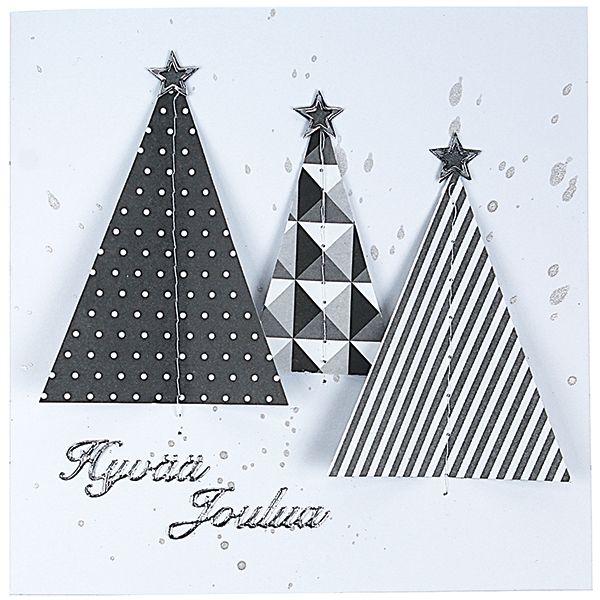 Laimenna hopeista askartelumaalia ja roiski itä korttipohjaan karkean siveltimen avulla. Leikkaa kuviopapereista kolmioita ja ompele ne korttipohjaan ompelukoneen avulla.