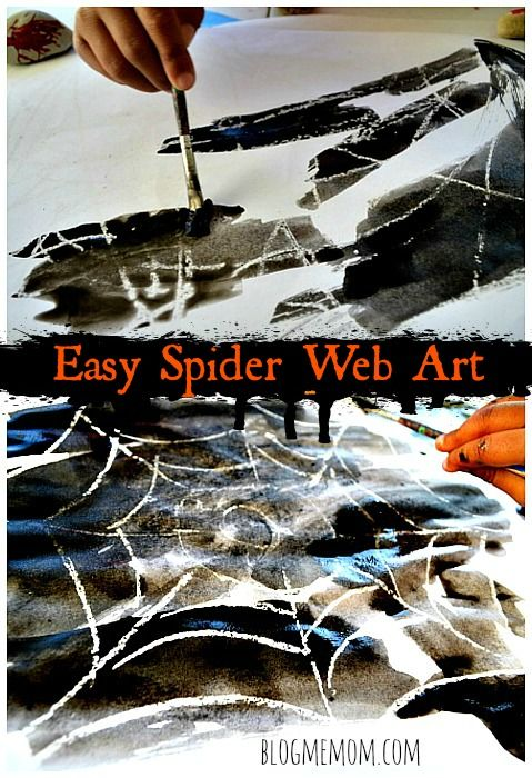 Easy spider web art for toddlers and preschoolers #halloweenactivities