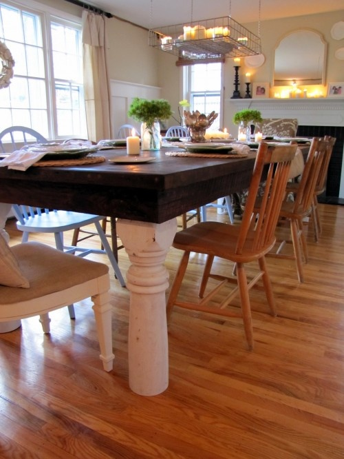 a use for my old porch posts?:  Boards, Porches Posts, Eclectic Dining Rooms, Rooms Ideas, Dining Rooms Tables, Furniture Ideas, Farmhouse Dining Rooms, Photo, Dining Tables