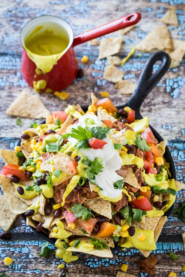 These jackfruit nachos are from my book, But I Could Never Go Vegan! and I wanted to share them with those of you who may not have bought the book yet, just