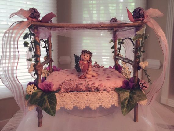 My newest creation  Fairy Canopy Bed  All of my creations will be for sale very soon. I am building my inventory. I will be making fairies outdoor showers ... & 309 best Miniature Garden/Elf Houses images on Pinterest | Fairies ...