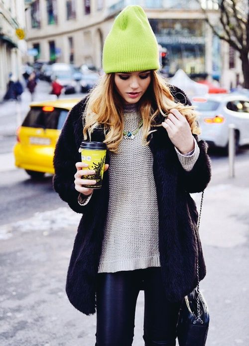 This hat is completely ridiculous. I am not fooled by the glamour of this being a model in NYC.: Hats, Fashion, Street Style, Outfit, Christmas Gift, Fall Winter, Neon Beanie