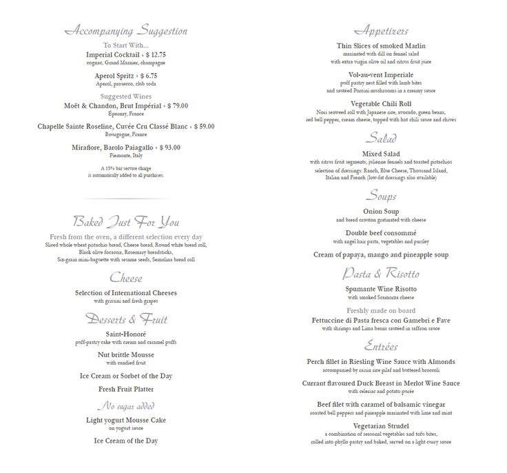 #MSCDivina Dinner Menu   *Subject to Change*