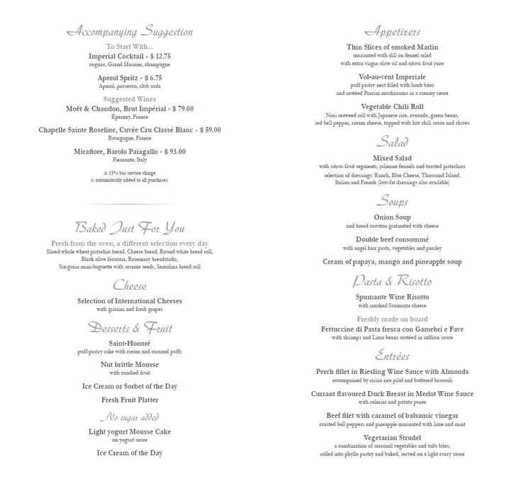 Mscdivina Dinner Menu Subject To Change Msc Divina