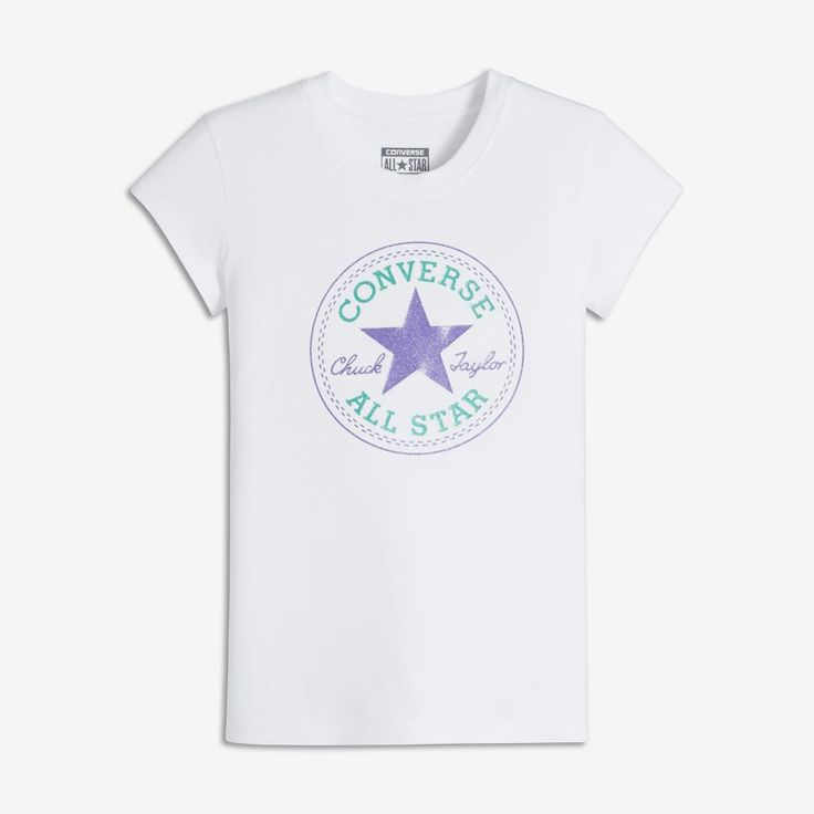 Converse Chuck Patch Big Kids' (Girls') T-Shirt Size Medium (White) - Clearance Sale