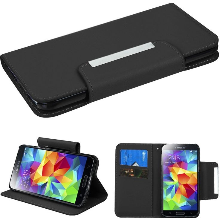 Book-Style Magnetic Wallet Case for Samsung Galaxy S5 - Black