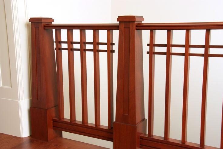 Custom Craftsman Mahogany Handrail Square Balusters And