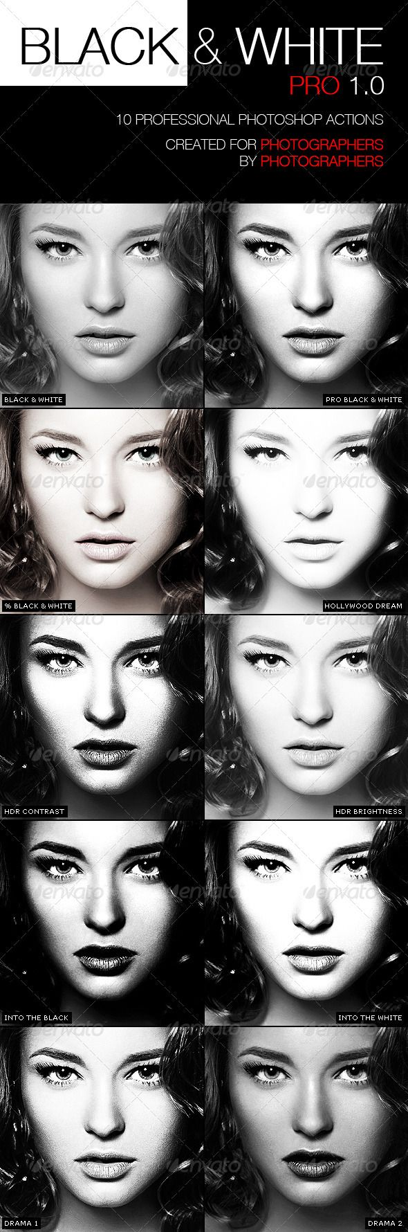 PRO Black White Photographer Actions - Photo Effects Actions