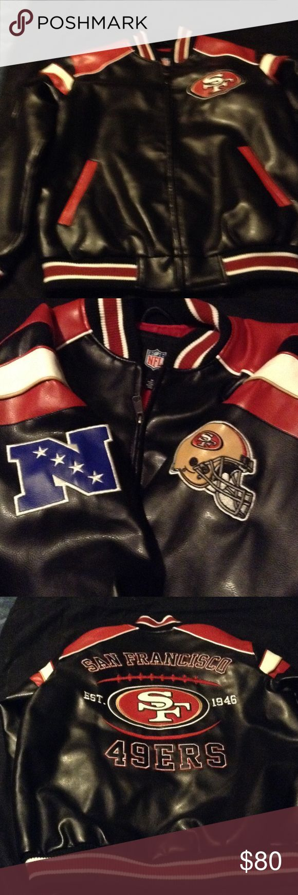 49er Jacket -  Official NFL Merchandise Faux leather.bExcellent condition , like new. Size M in men's, so like a large for a woman. No stains, scuffs, or tears. Outside and inside pockets. Fully lined and zips up fully NFL Jackets & Coats Puffers