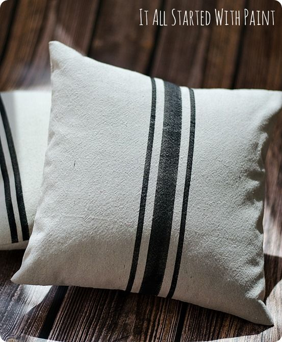 Pottery Barn inspired faux grain sack pillows