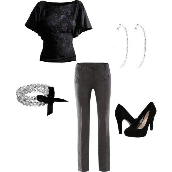 gray slacks outfit
