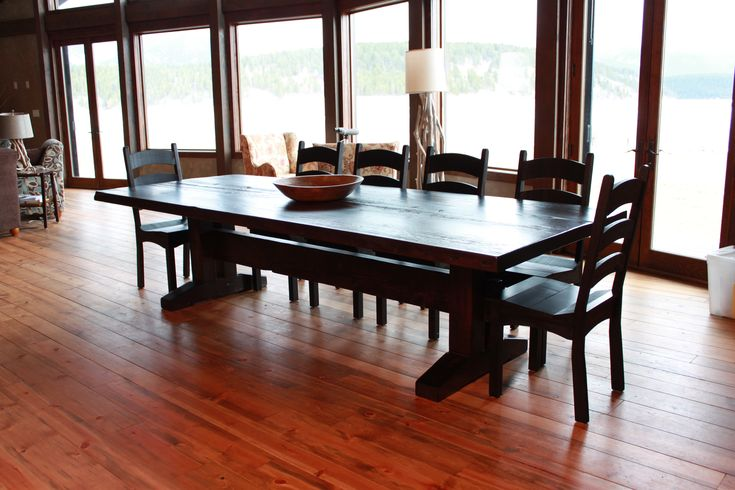 """Our """"Trestle"""" custom wood table. Made to any size and colour specifications. Contact us to order your hand-crafted wood table today."""