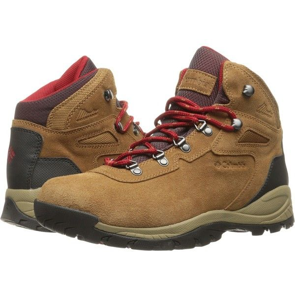 Columbia Newton Ridge Plus Waterproof Amped (Elk/Mountain Red) Women's... ($90) ❤ liked on Polyvore featuring shoes, athletic shoes, columbia shoes, lightweight waterproof shoes, waterproof hiking boots, red athletic shoes and lace up shoes