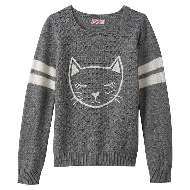 Girls 7-16 & Plus Size SO® Graphic Varsity Sweater, Grey Other