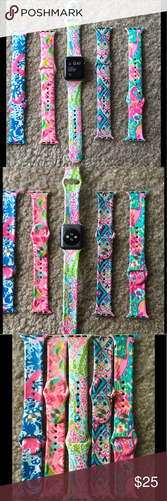 Lilly print Apple Watch Band 38mm I wear the small Apple brand band on the fourth to last hole and these fit me. They also fit the large band. They only fit 38 mm watch. I have 2 of each :) Lilly Pulitzer Jewelry Bracelets