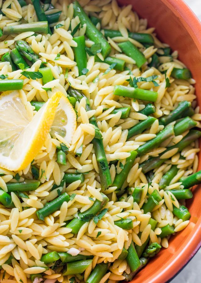 Lemon Orzo With Asparagus ~ The dish is really easy to make: cook the orzo in chicken bouillon, cook the asparagus, make a lemon dressing and mix it all together.