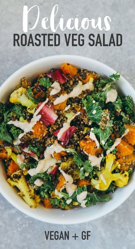 Roasted Veggie & Quinoa Salad with Tahini Garlic Dressing #vegan #glutenfree #healthy #recipe #lunch #vegetarian