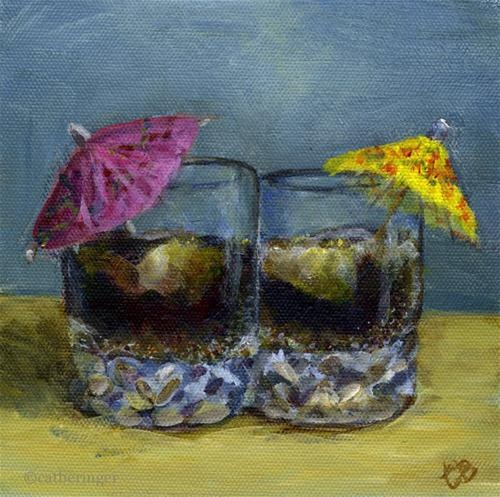 """Original Fine Art For Sale: """"Still Life With Rum And Cokes (Or Just Cokes)"""""""