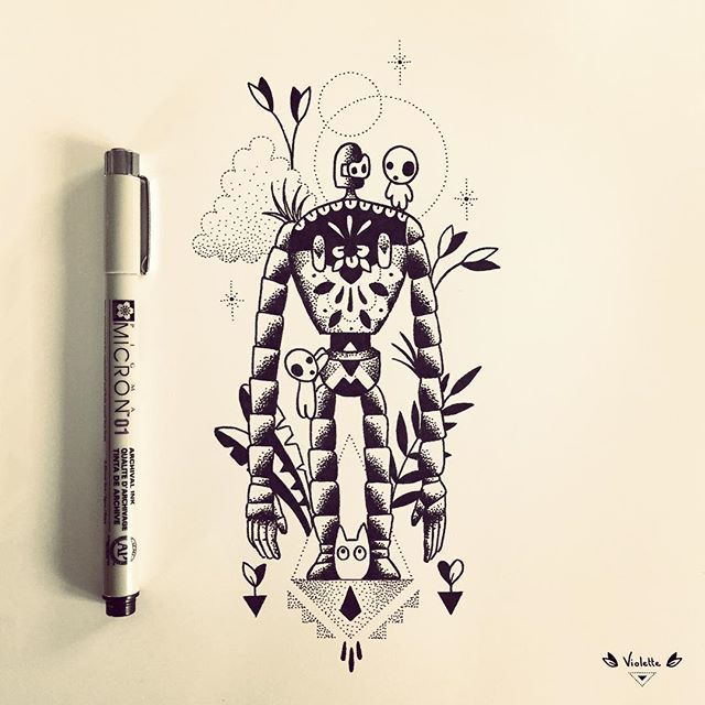 Robot de Laputa pour Marie-Anaia :) #robot #laputa #castleinthesky #miyazaki #chibitotoro #sylvain #vegetaltattoo #geometrictattoo #tattoo #violette #bleunoir #bleunoirtattoo #violettetattoo #dotwork #blackwork #blackworkers #blackworkerssubmission #blacktattoo #blacktattoomag #blacktattooart #btattooing #iblackwork #inkstinctsubmission #equilattera #darkartists #illustration #drawing