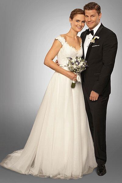 Temperance Brennan and Seeley Booth on their wedding day (Emily Deschanel & David Boreanaz)
