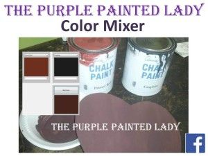 Color Mixer Tool at The Purple Painted Lady- playful tool that allows you to get an idea of what a custom color will look like when you mix multiple Chalk Paint® colors. This tool is not an accurate, exact representation of an outcome- but mathematically it is pretty darn close.  Have fun!  Visit this link=>  http://www.thepurplepaintedlady.com/paint-mixer/
