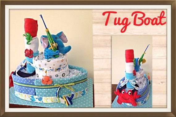 Fisherman tug boat diaper cake by Uponamonkey on Etsy