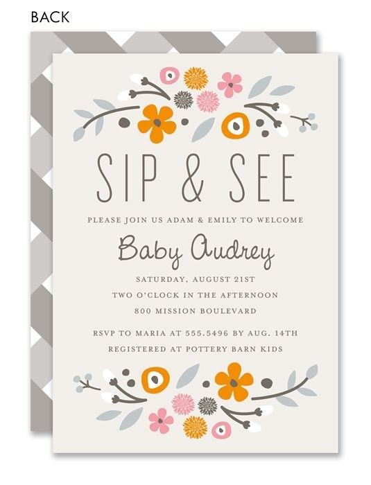 rustic floral pink sip and see invitation by noteworthy collections