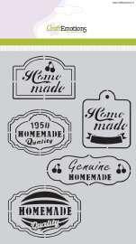 CraftEmotions  stencil Fifties Kitchen labels A5  Leuk om een label mee te sjabloneren en aan bv je zelfgemaakte jam te hangen