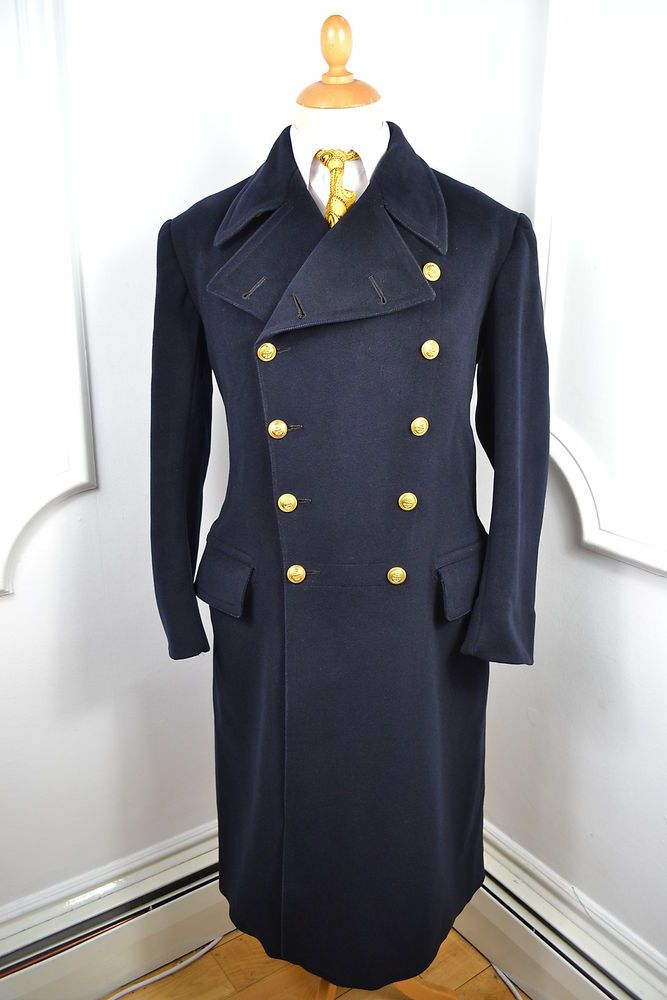 Vintage 40s 1942 Dated World War 2 Overcoat Military 38R yOIwSJb