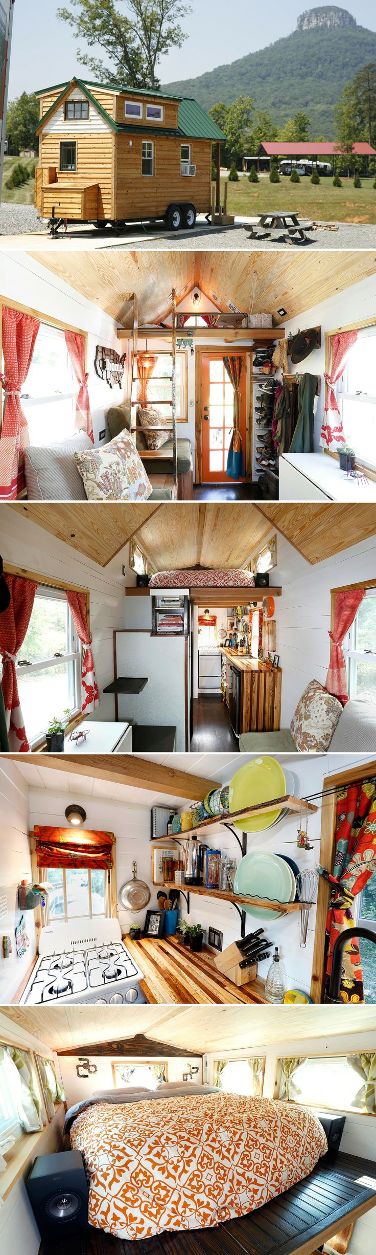 A 130 sq ft tiny house on wheels. Its owners, both filmmakers, travel across the US raising awareness about tiny house living.
