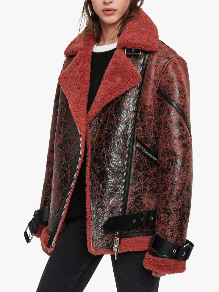 AllSaints Hawley Oversized Shearling Jacket, Raspberry