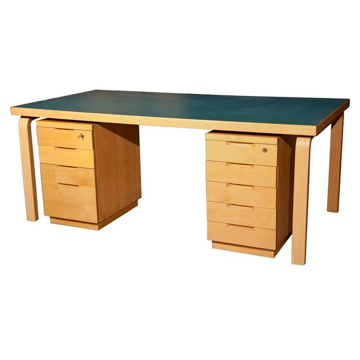1stdibs | Writing Desk With Comparison File Cabinets By Alvar Aalto