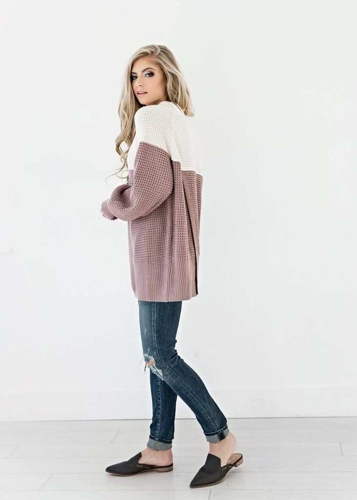 This modern staple is an ideal way to throw an outfit together. Its simple, eye-catching block of color accents. JessaKae, Shop, Style, Fashion, Warm, Comfy, Mauve, Pink, White, Color Block, Womens Fashion, Womens Style, Detail, Blonde, Shoes, Grey, Slipons, Mules, Flats, Distressed, Jeans, Denim