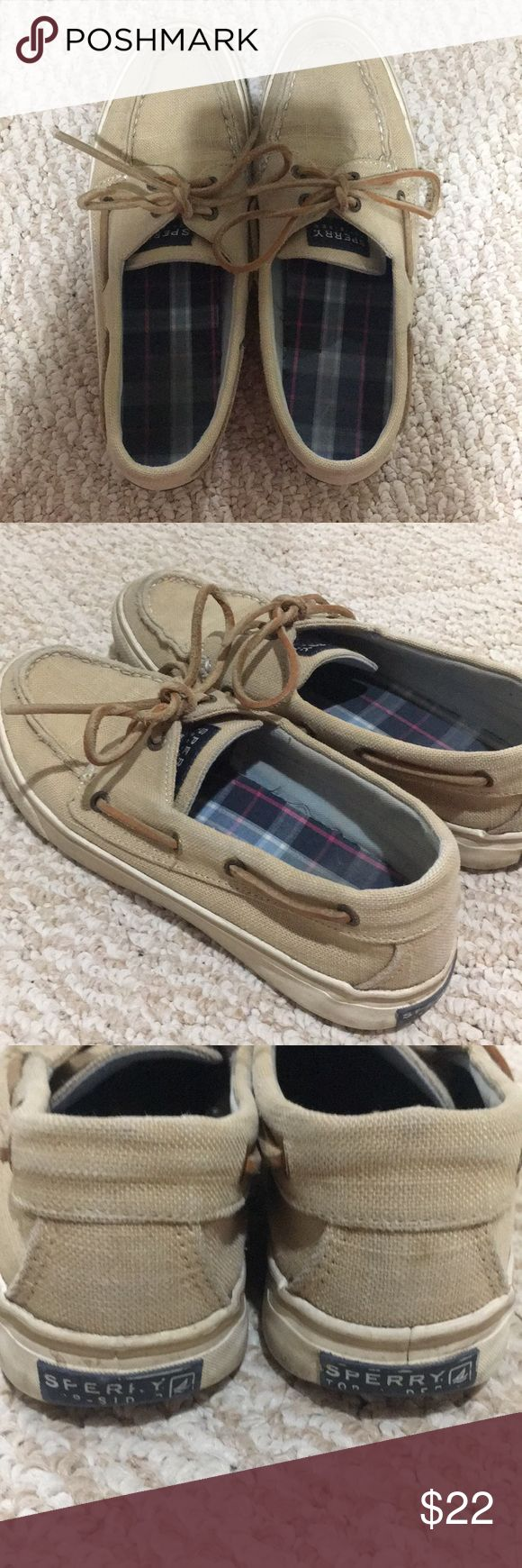 Tan Sperry Boat Shoes Tan sperrys, women's size 7.5 (US), slide on shoes with laces (leather laces), worn many times but still in good condition, small stain on front of right shoe but not noticeable while wearing, accepting offers, will lightly clean before shipping off! Sperry Shoes Sneakers