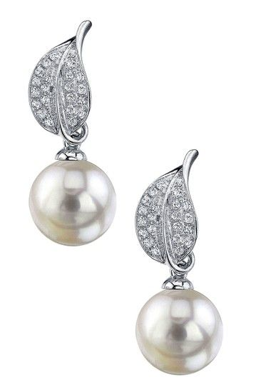 18K White Gold 9mm White South Sea Pearl & Diamond Earrings