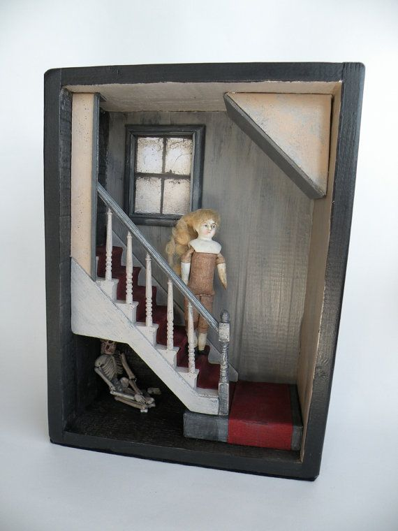 Curiosity Box, Shadow Box, Abandoned Room, Antique doll, skeleton - ON THE STAIR  Assemblage, Memento Mori