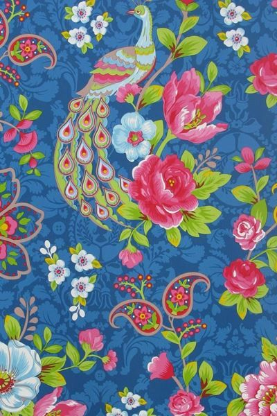 Show details for Flowers in the Mix wallpaper dark blue