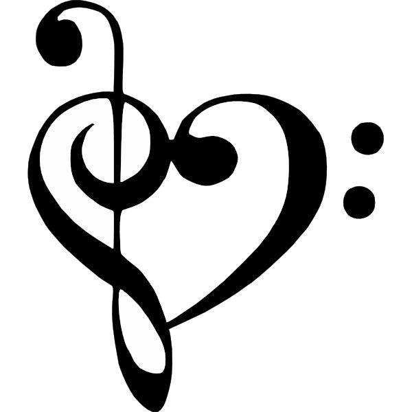 Bass Clef Treble Clef Heart clip art - vector clip art online ... - ClipArt Best - ClipArt Best