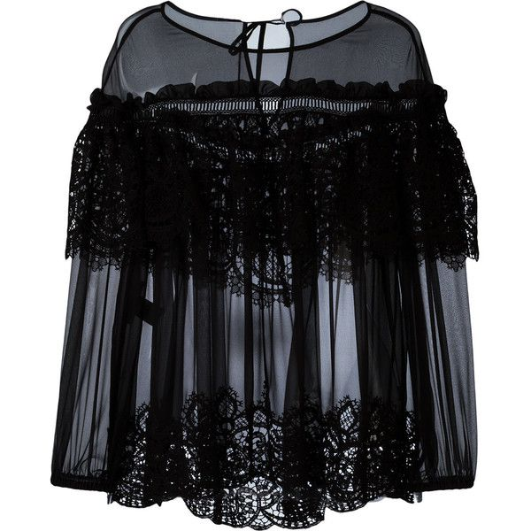Alberta Ferretti sheer ruffled lace top featuring polyvore, women's fashion, clothing, tops, blouses, black, frilly blouse, ruffle top, lace blouse, see through blouse and lace top