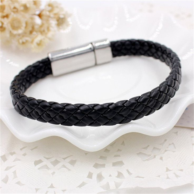 Men's Simple Leisure Knitted Leather Tie Bracelet #Ad , #Affiliate, #Leisure, #S…  – Cute outfits