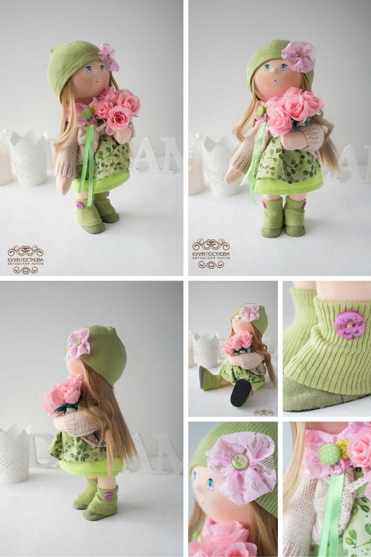 Sunny doll Tilda doll Art doll handmade green by AnnKirillartPlace